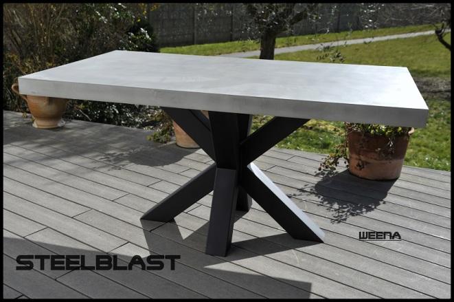 Table beton cire metal Weena